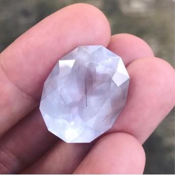 natural gray blue rutilated quartz 裸石
