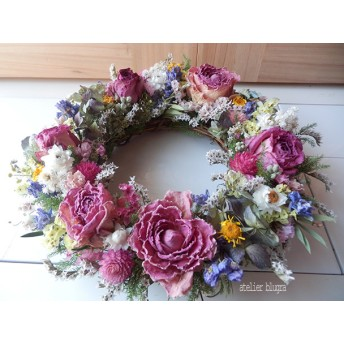 atelier blugra八ヶ岳〜(定形外発送)薔薇と小花のWreath
