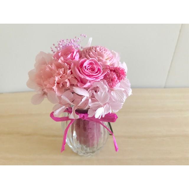 華やかなピンクのガラスアレンジ Bruno(ブリュノ)ピンク ひな祭り プリザーブドフラワー ウェディング プレゼント 母の日 結婚祝い 誕生日 新築祝い