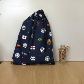 w30×40cm 紺色 サッカー サッカーボール柄 長い 体操着袋 体育着 給食着袋