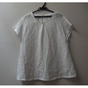 【sale】リネン フレンチスリーブプルオーバーブラウス (ホワイト)