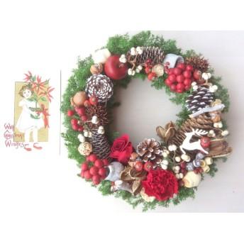 赤と白のクリスマスリース