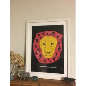 ライオンと星 アートポスター オリジナルイラスト(インテリア) A4/B4/A3
