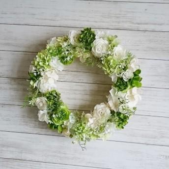 爽やか♪ホワイトグリーンの春リース