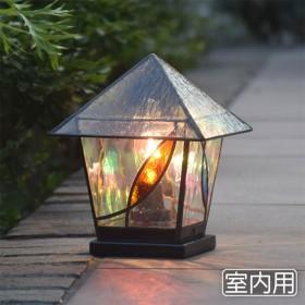 ステンドグラス ランプ ランタン3 室内用 室内照明 テーブルライト 卓上灯 100v LED電球対応
