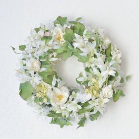 ホワイトネリネの春リース・ドアリース