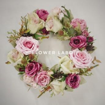 【Rose drop】誕生日などのお祝い、プレゼントに アンティークグリーンとピンクのローズリース 約27-30cm