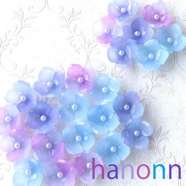 パールで紫陽花ピアス