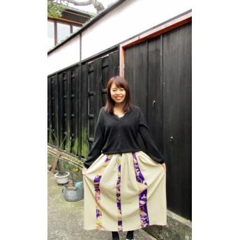ゆったりサイズの着物リメイク 古布を使ってスカート