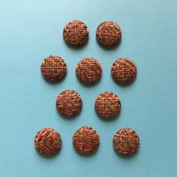 サークルのウールカボション(オレンジ×グレー/10個)17mm