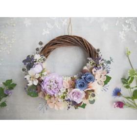 受注制作 Lune Bonheur blue purple*藤色ブルーのボタニカルハーフリース*プリザーブドフラワー・お花・ギフト*結婚祝い・ブルーローズ