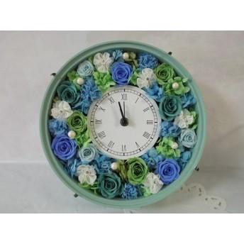 受注制作 色変更OK バラたっぷり豪華 花時計 水色・黄緑・緑・ブルー・グリーン 母の日、ウェディング、新築、お誕生日、還暦祝い