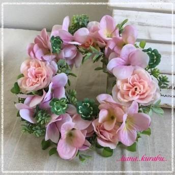 ◆直径21㎝四葉のクローバーの入ったリース・ピンクのアジサイ◆造花アレンジ・壁掛けリース◆
