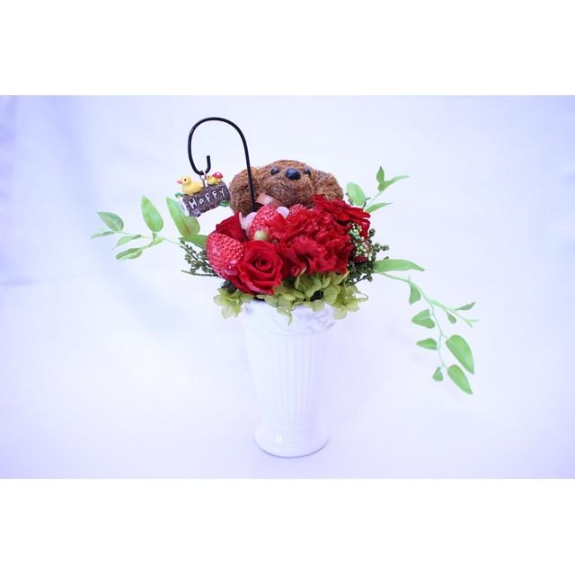 プリザーブドフラワー ラウンドアレンジ「アルメル」トイプードル 赤系 カーネーション イチゴ