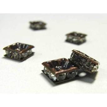四角型 ラインストーン ロンデル 銅古美 8mm【約100個入り】6000162