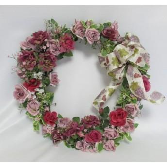 薔薇とカスミ草のリース m-1244