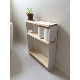 ひのき小型シェルフ ホワイト(トイレ収納・小物ディスプレイ)