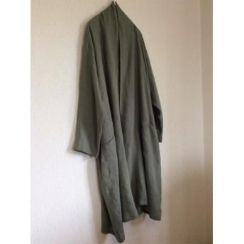 【受注製作】カーキリネンのゆったりローブコート