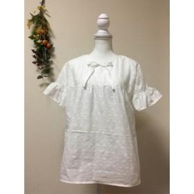 綿100%白の刺繍レース生地のオーバーブラウス
