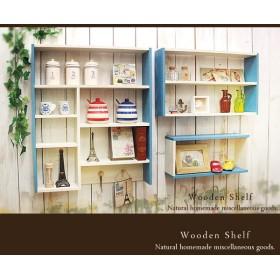 【送料無料】☆3点セット☆マリンテイストのシェルフ 木製 棚 ブルー&ホワイト