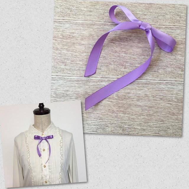 シンプルサテンリボン アシンメトリー ふんわり留め 選べるブローチヘアクリップ 細 ラベンダー薄紫