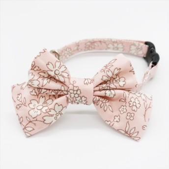〈新作〉猫 首輪 リボン中 ピンク 花柄 リバティプリント×Capel