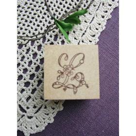 【SALE】イニシャルスタンプ「L」3cm角アンティーク復刻刺繍図案