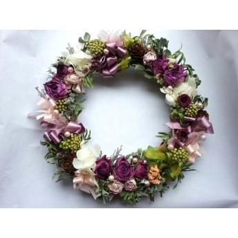 ふんわりピンクが美しい薔薇のリース!Natural driedflower wreath