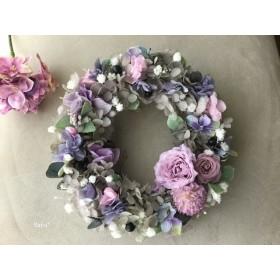 Antique gray pink  Hydrangea  wreath ミ二リース ギフト