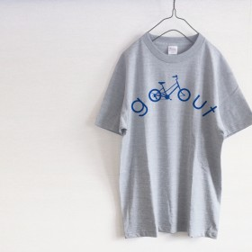 GO OUT 自転車ロゴ Tシャツ(グレー)