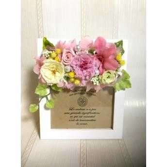 ピンクカーネーションフォトフレーム*プリザーブドフラワー母の日花ブリザードフラワー結婚式誕生日プリザ薔薇プレゼント誕生日バラギフト花器サプライズ結婚祝い退職祝い卒業祝いリボン