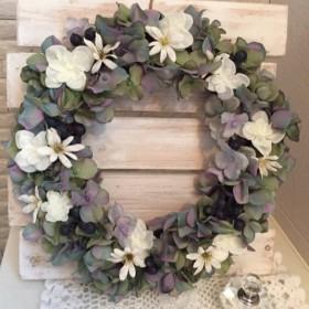 アンティーク風紫陽花のリース