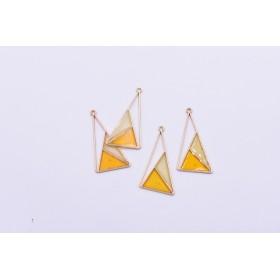 送料無料8個 エポチャーム 三角形 二色 20×39mm ゴールド ライトイエロー×オレンジ mj258