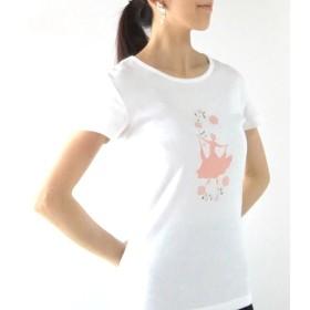社交ダンス Tシャツ ホワイト シルエットイラスト プリンセス