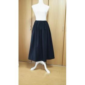 コットンリネン(綿麻)のロングスカート ブラック