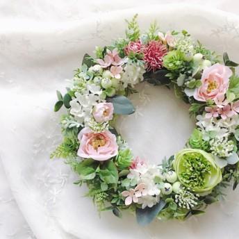 Pink rose garden ピンクローズのナチュラルリース
