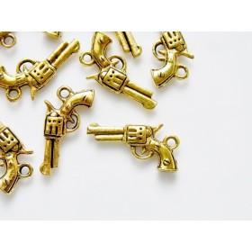 チャーム リボルバー拳銃 10個 アンティークゴールド