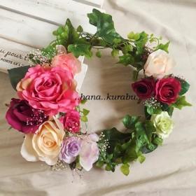 ◆華やかローズのオーバルリース◆花倶楽部・ハンドメイド