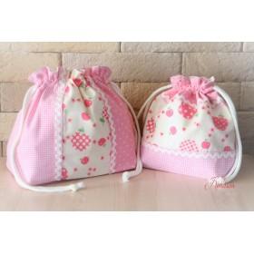 ピンクのリンゴ★お弁当袋セット