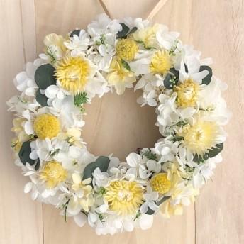 母の日2020 アカシア リース M リースボックス付 プリザーブドフラワー リース 誕生日 ウェディング 結婚祝い 新築祝い ナチュラル 白 オレンジ ラッピング 木の実 お中元