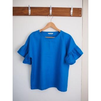 再販リネンティアード袖プルオーバー / ドロップショルダー / 半袖 / ターコイズブルー