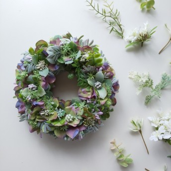 紫陽花リース グリーンパープル アーティフィシャルフラワー