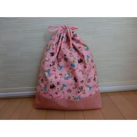 大きめの巾着袋(不思議の国のアリス柄)≪再販≫