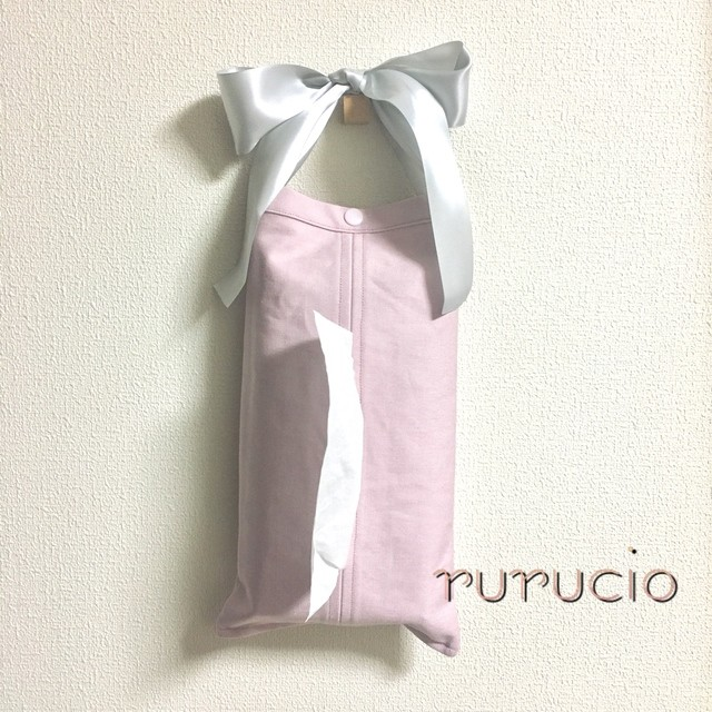 春色♪リボンのティッシュカバー(pink)