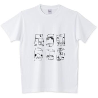 face of train 電車のかお 落書き風プリントTシャツ