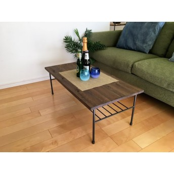 W90×D45 棚付ローテーブル エボニー アイアン