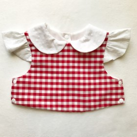 gingham×cotton race sleeve bib(red)