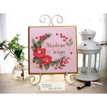 【送料無料】椿と南天と松のお正月飾り パステルピンク 手描き
