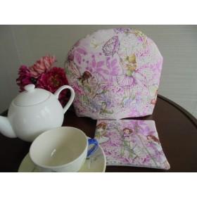 ピンクのスイトピーの妖精のティーコゼー ふわふわもこもこ マシュマロティーコゼー