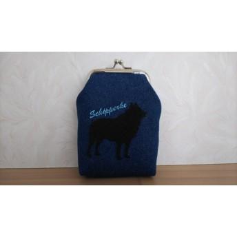 スキッパーキ刺繍 シガレットケース 水色文字